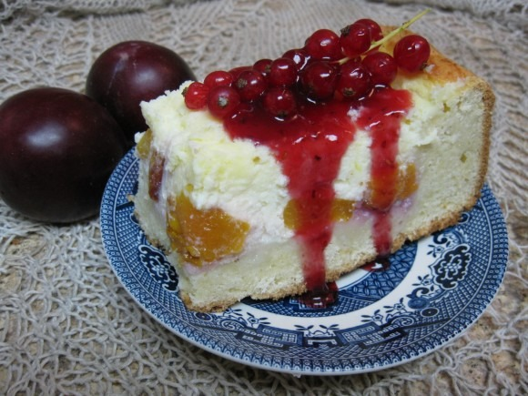 Cottage Cheese Plum Cake